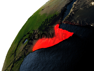 Somalia in red on Earth at night