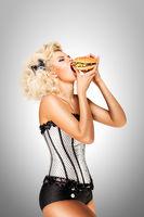 Eating burger.
