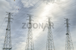 power lines and pylons