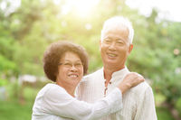 Happy senior Asian couple portrait.