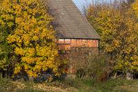alte Scheune im Herbst