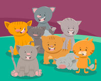 cute cat or kitten characters group