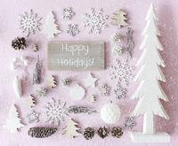 Christmas Decoration, Flat Lay, Text Happy Holidays, Snowflakes