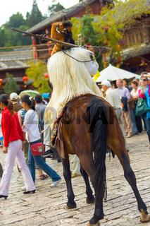 Lijiang Old Town Naxi Minority Man Garb Horse