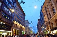 Sunday November night in the commercial center of Helsinki