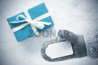 Turquoise Gift, Glove, Copy Space, Snowflakes