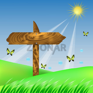 Wood Arrow on Spring Background