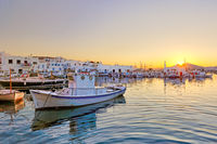 The sunset at the port of Naousa, Greece