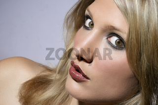 Big Eyed Beautiful Blond Woman