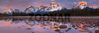Mount Fryatt and Whirlpool Peak with the Athabasca River at sunrise