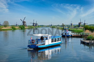 Windmills at Kinderdijk in Holland. Netherlands