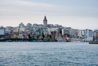 Evening shot of the Galata district in Istanbul