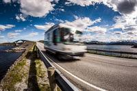 Norway. Caravan car travels on the highway.