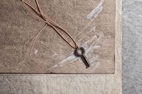 A small old key lies on a wooden board. Minimalistic still life