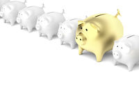Row with piggy banks