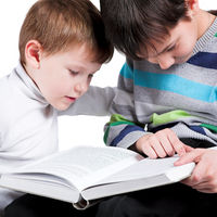 Two boys reading big book