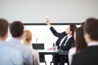 Speaker at business meeting