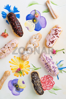 Eclairs with toppings