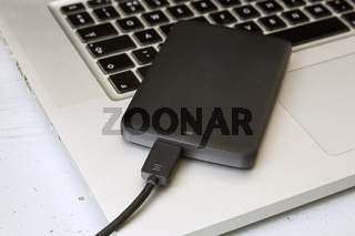External Hard Disk Over Laptop Keyboard