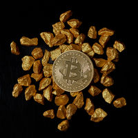 gold nuggets and Gold Bitcoin Coin on black background. Bitcoin cryptocurrency.