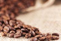 Kaffeebohnen im selektiven Fokus