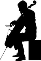Silhouettes a musician playing the cello on a white background