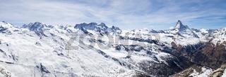 Panoramic view of Swiss Alps and Matterhorn