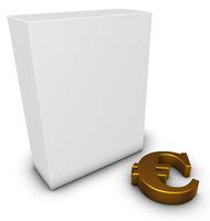 eurosymbol und weiße kiste - 3d rendering