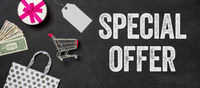 Shopping concept - Special offer written on a blackboard