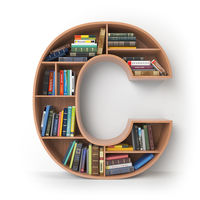 Letter C. Alphabet in the form of shelves with books isolated on white.
