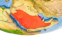 Saudi Arabia in red on Earth model
