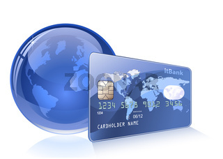 Credit card with world map and Globe