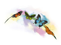 Butterflies on the grass watercolor
