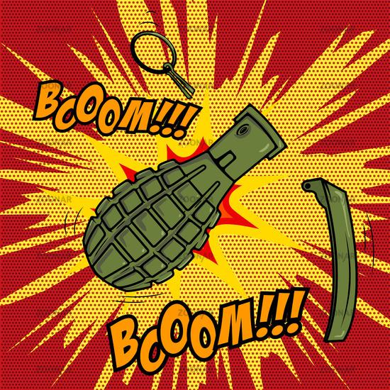 Comic style Grenade explosion. Design element for poster, flyer