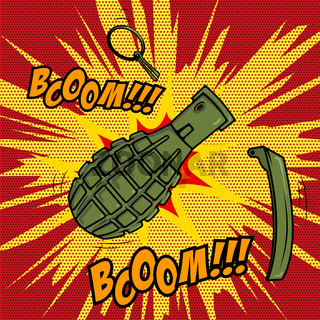 Comic style Grenade explosion. Design element for poster, flyer