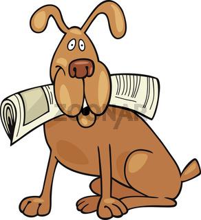 Dog with newspaper