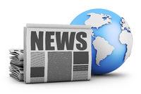 Newspaper and globe