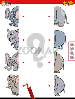 match halves of elephant educational game