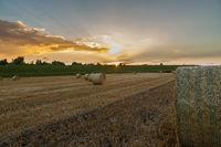 Strohballen im Sonnenuntergang