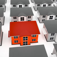 Colored house among gray houses, 3D-Illustration