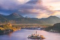 Lake Bled and its island at sunrise