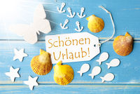 Sunny Summer Greeting Card With Schoenen Urlaub Means Happy Holidays