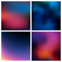 Abstract vector red blue black blurred background set 4 colors set. Square blurred backgrounds set - sky clouds sea ocean beach colors