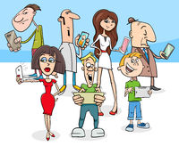 cartoon people with modern electronic devices