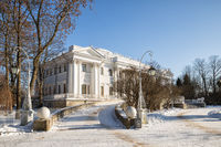 Elagin Palace on the Elagin Island in winter sunny day. St. Petersburg