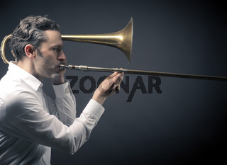 Musiker mit Posaune