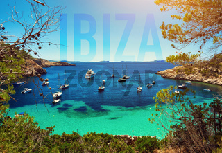 Sailboats at Cala Salada lagoon. Idyllic scenery. Ibiza, Balearic Islands. Spain