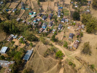 Aerial view of village in Nepal