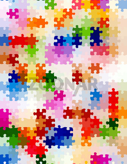 texture of colorful bright jigsaw puzzle pieces