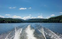 Wash behind speedboat on Cheat Lake Morgantown